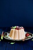 Rhubarb pudding with coconut flakes