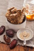 Muesli bars with dates and sesame seeds