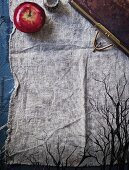 A spooky forest painted on a linen cloth for Halloween