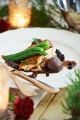Turkey breast with green beans served at Christmas