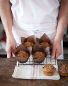 Carrot and walnut cakes