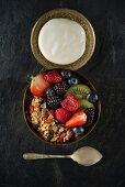 A bowl of cereal surrounded by fresh fruit and dark surface