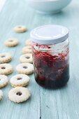 Jam sandwich biscuits with cherry jam