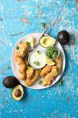 Avocado nuggets with a creamy horseradish and basil dip