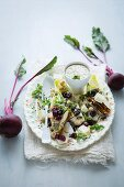 Roasted beetroot, endive and chargrilled chicken salad with an orange and herb dressing