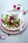 Butter-fried radish, wild mushroom and baby marrow salad stacks with a sour cream and chive dressing