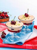 8 ways with summer stone fruit - Poached cherries and zabaglione
