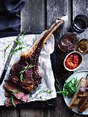 Barbecued tomahawk with tomato relish