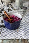 Red cabbage with preserved sloes and cinnamon