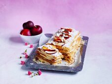 Coconut custard mille-feuille
