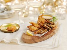 Butterfly prawns with various coatings for Christmas