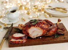Carved roast turkey for Christmas