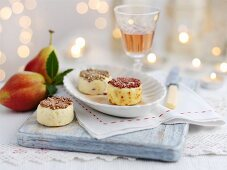 Jewelled cheese: cheese decorated with sparkly beads for Christmas