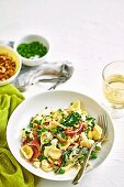 Pea and proscuitto orecchiette