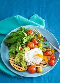 Flatbread with tomatoes and eggs