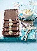 Lavender chocolate tart and honeycomb cream