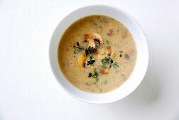 Cream of mushroom soup with lemon thyme