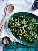 Charred broccolini with kingfish, miso and sesame, Fish, Seafood