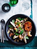 Grilled witlof, mint and almond salad with blackened mandarin