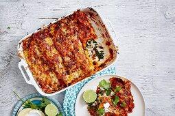 Hühnchen, Grünkohl und schwarze Bohnen Enchiladas in Auflaufform