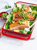 Salmon with Olive & Caper Salsa