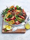 Sausage, Asparagus, Tomato & Haloumi Salad