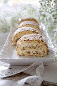 A coconut Swiss roll