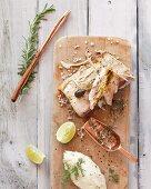 Salt-baked yellowtail mackerel with mashed potatoes