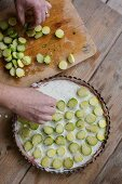 Brussels sprouts gratin being made