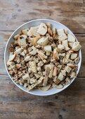 Ingredients for dumplings with mushroom sauce