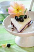 Crumbly cheesecake with a blackcurrant base and Bavarian cream