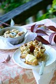Mini chicory Bundt cakes with bacon on an autumnal table outside
