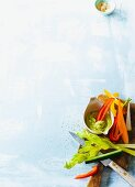 Colourful vegetable sticks with an avocado dip (paleo)