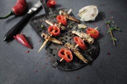 Mini chilli and garlic grasshopper kebabs