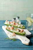 Mini cucumbers filled with crab cream cheese (simple glyx)
