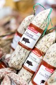Salami in the shop Macelleria Falorni in Greve, Tuscany