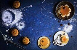 Upside Down-Joghurtküchlein mit exotischen Früchten und Creme Caramel mit Anis