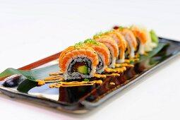 Rainbow sushi with salmon