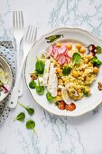 Millet chickpea salad with feta