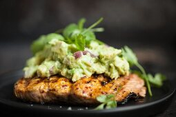 Grilled salmon with avocado cream