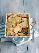Salmon and potato pie with leek