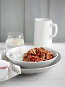 Rindfleisch mit Paprika und Reis