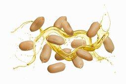 Peanuts with an oil splash