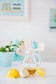 Stillleben mit Zitrone, Knoblauch, Olivenöl in Karaffe und Minze im Topf