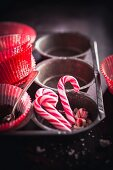 Candy canes in a muffin tin
