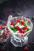 Colourful Christmas sugar in a glass serving dish