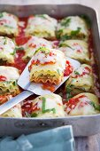 Vegetarian lasagne with ricotta, spinach and tomatoes