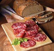 Supper with dark bread and salchichon
