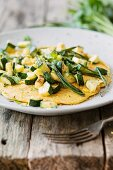 Gluten-free vegan omelette with courgette