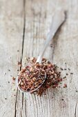 A super fruit topping made from flaxseed, chia seats, lucmo, goji berries, dates, hemp seeds and psyllium